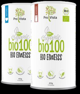 Zwei Dosen ProVista Bio-Eiweiss Produkte